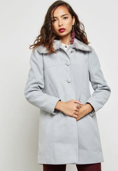 Longline Faux Fur Collar Coat