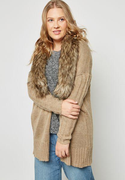 Detachable Faux Fur Cardigan