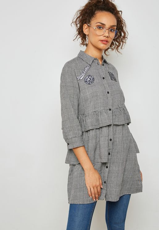 Patches Checked Shirt