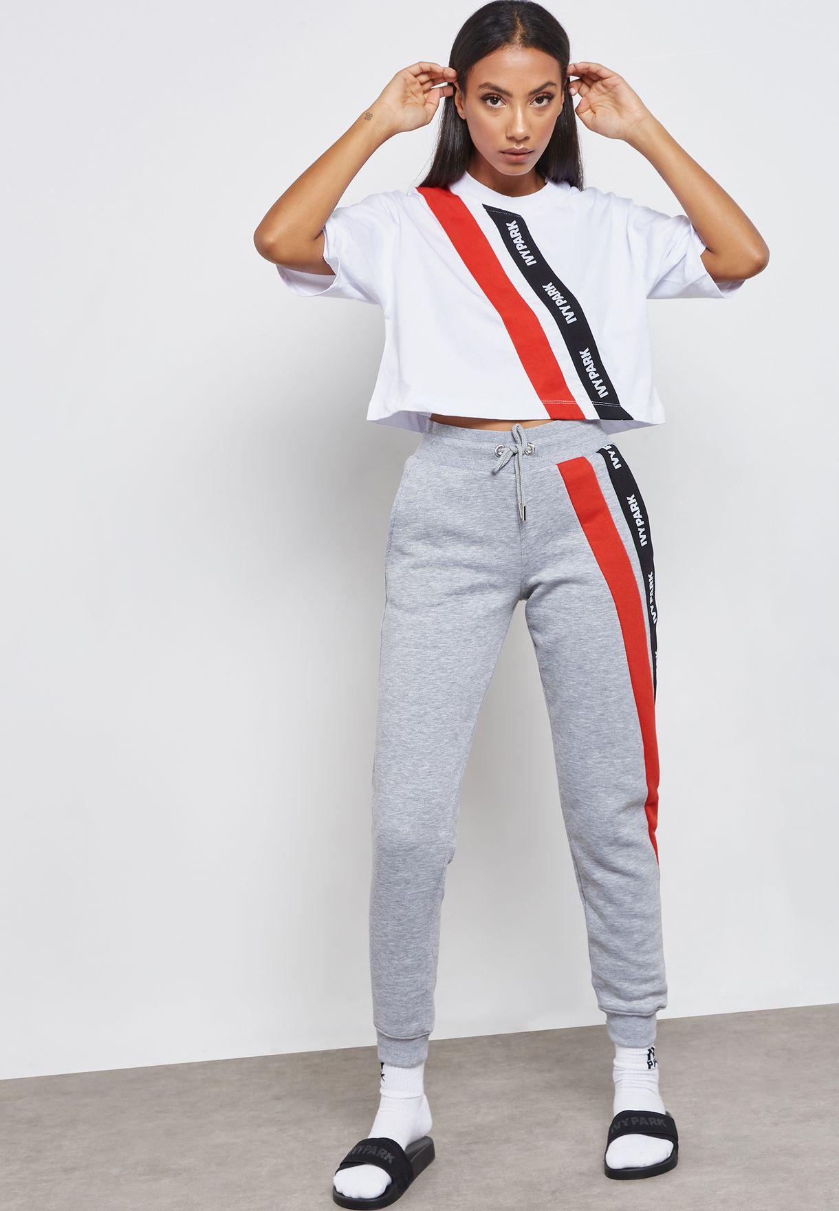 2f7b60ee645b7 Shop Ivy Park grey Logo Tape Sweatpants 29FCG383BLGM for Women in Bahrain -  IV938AT80ZPF