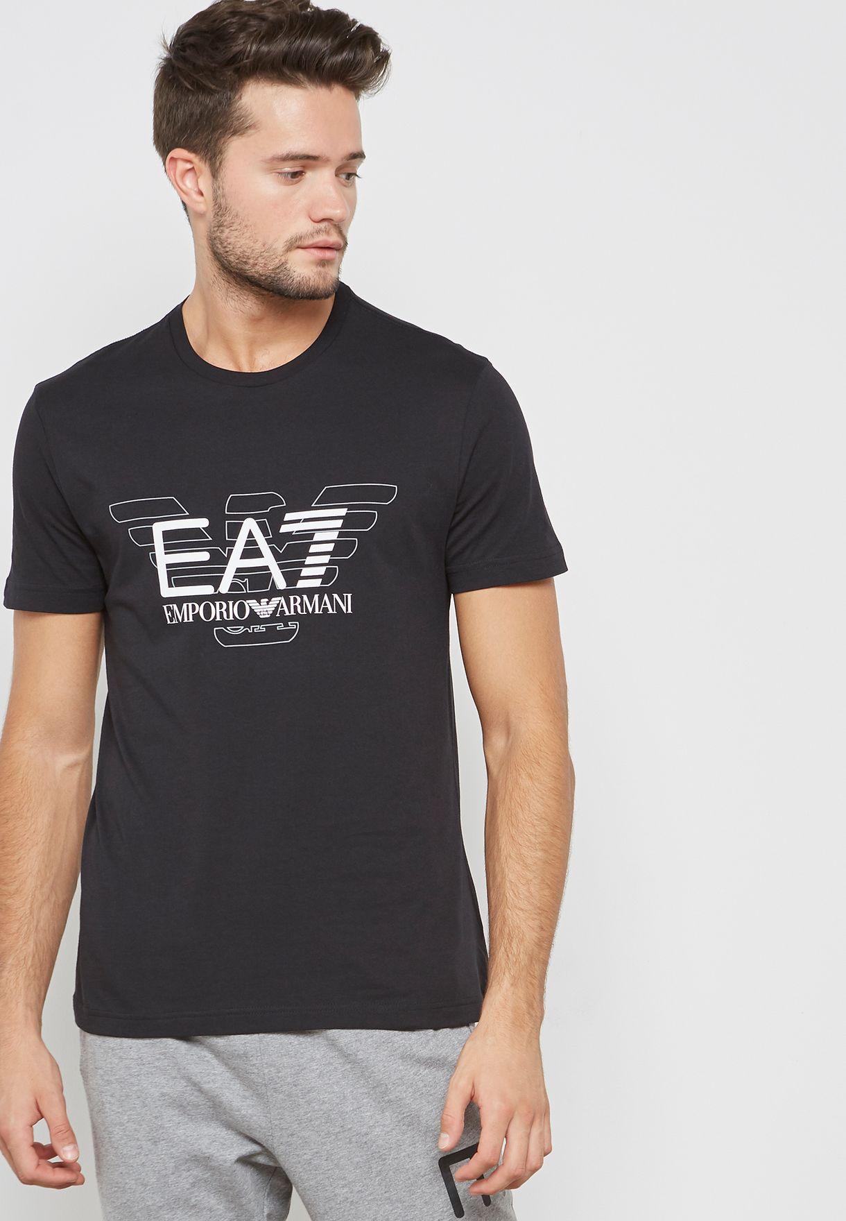 b2dcab12 Shop Ea7 Emporio Armani black Train Graphic Series T-Shirt PJ30Z ...