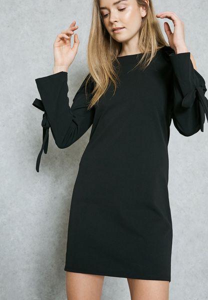 Tie Cuffed Ruffle Cold Shoulder Dress