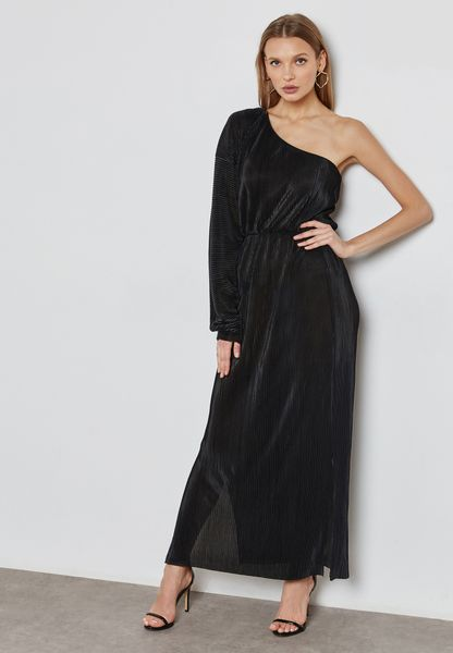 Plisse One Shoulder Maxi Dress