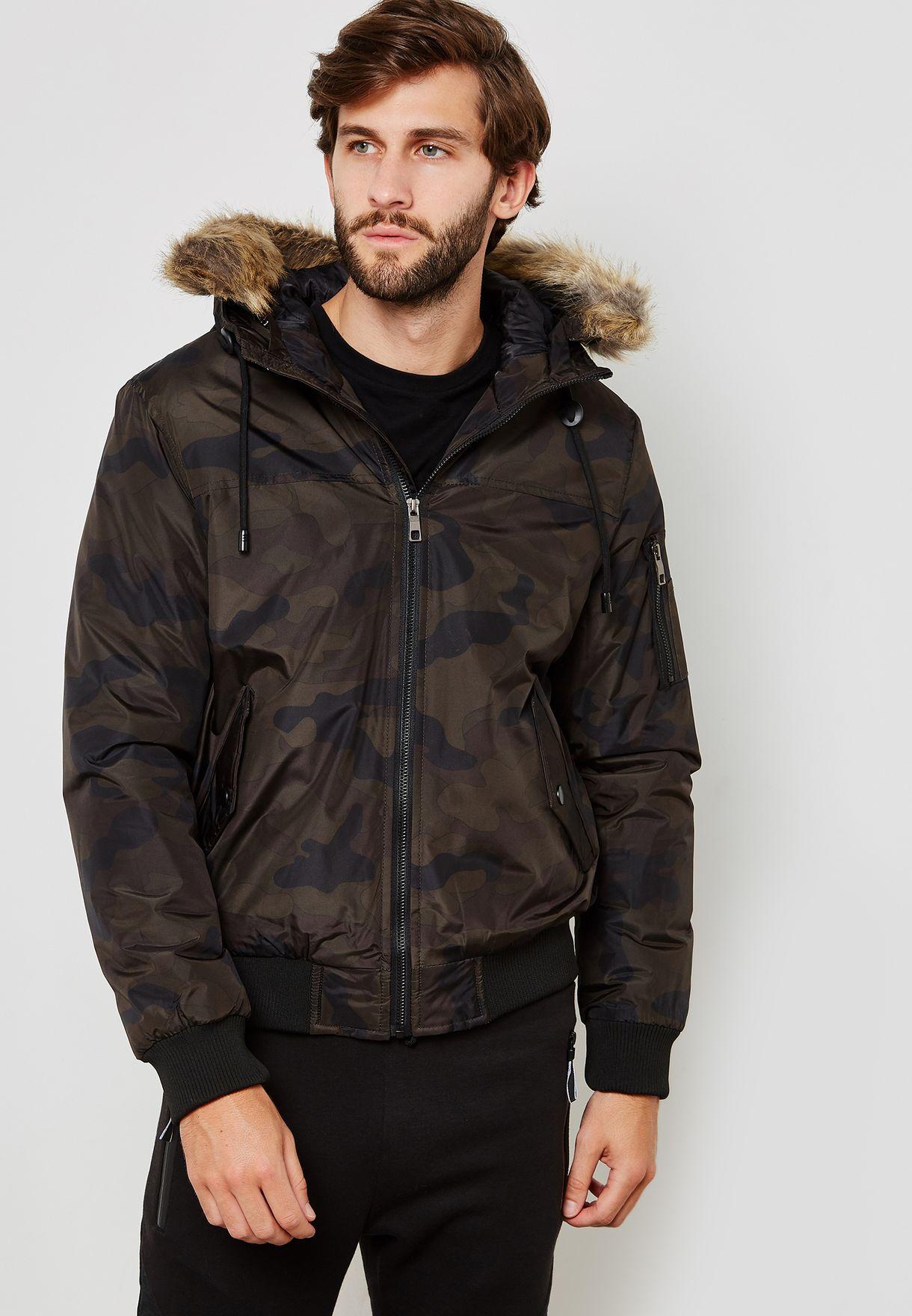 Camo Fur Trim Hooded Jacket