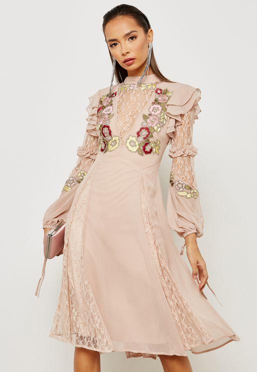 Embellished Plunge Illusion Dress