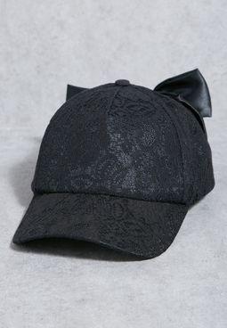 Lace Bow Back Cap