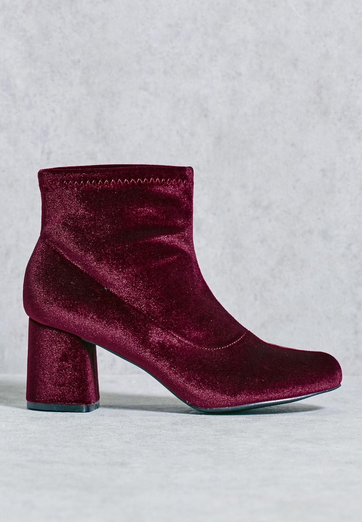 83ee7bd3fc2 Shop Truffle purple Velvet Block Heel Boot TRINY16 for Women in ...