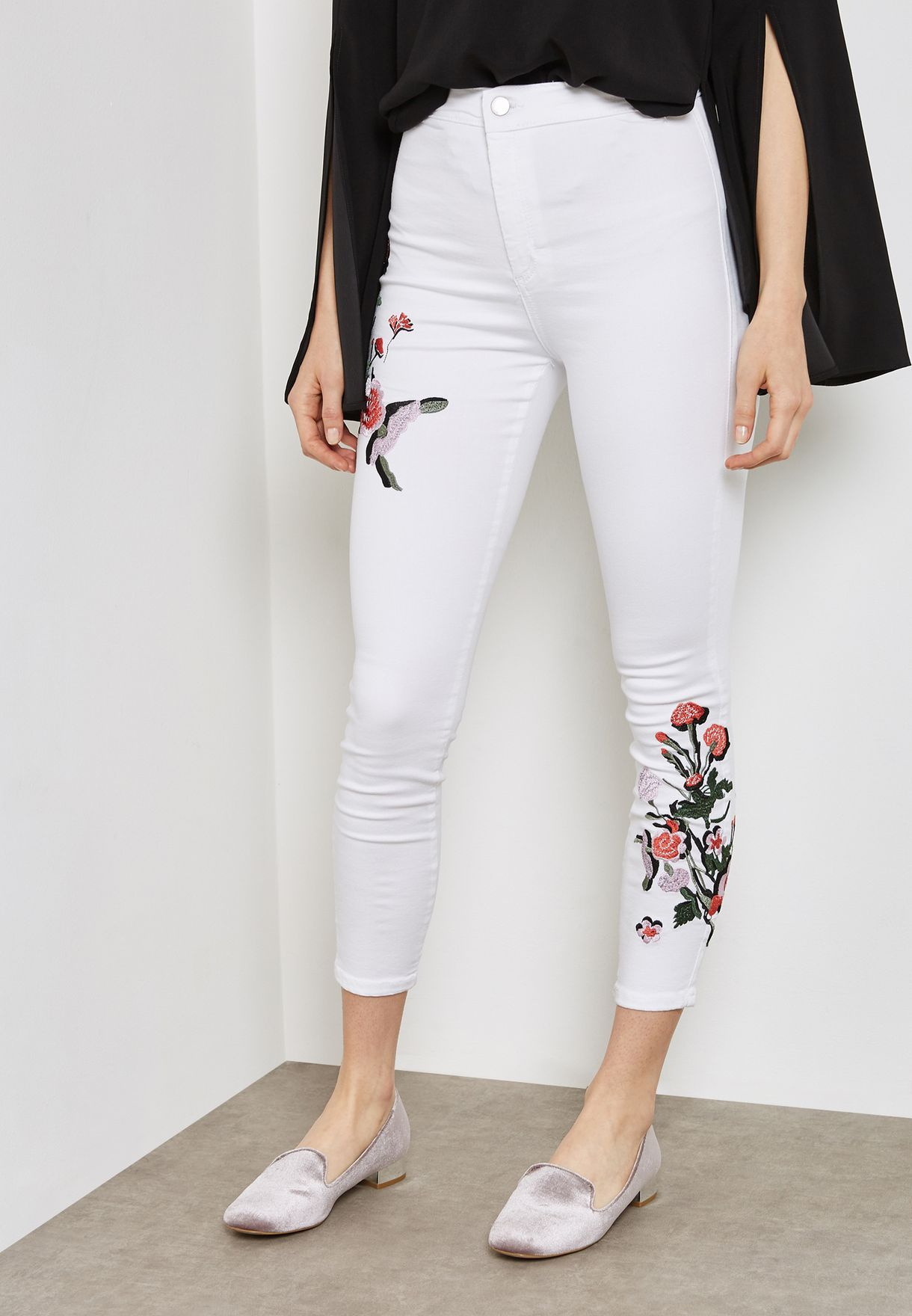Shop Topshop White Moto Flower Embroidered Jeans 02y68lwht For Women