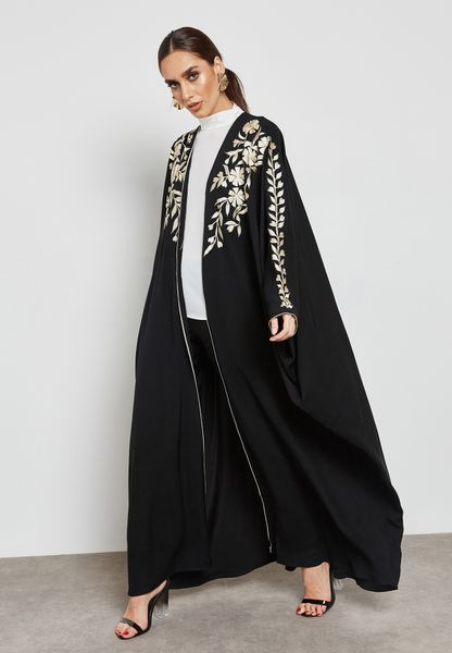 Embroidered Front Abaya