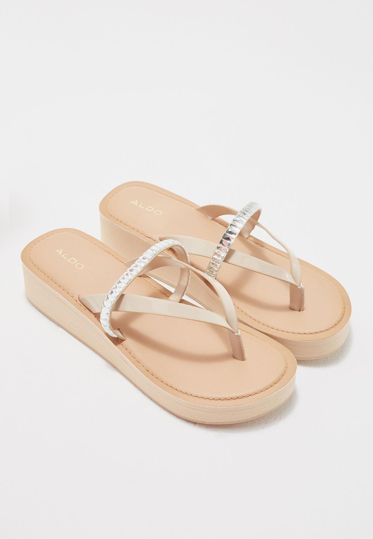 8dd369a91 Shop Aldo pink Embellished Thong Wedge Sandals VERA32 for Women in ...
