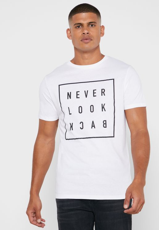 Never Look Back Print Crew Neck T-Shirt