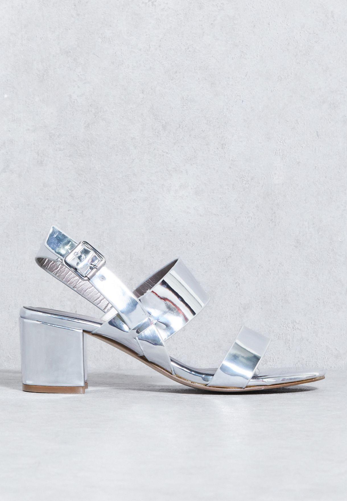 ec1b6d5a7442b Shop Anne Michelle silver Block Heel Mule F10732RM1 for Women in ...