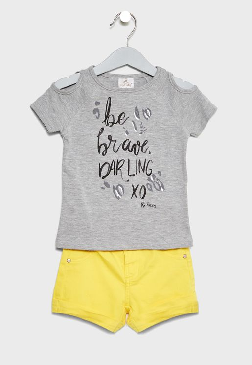 Infant Slogan Top + Shorts Set