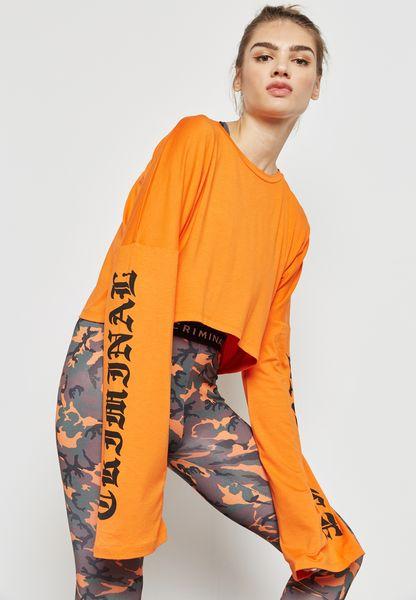 Slogan Sleeve Crop T-Shirt