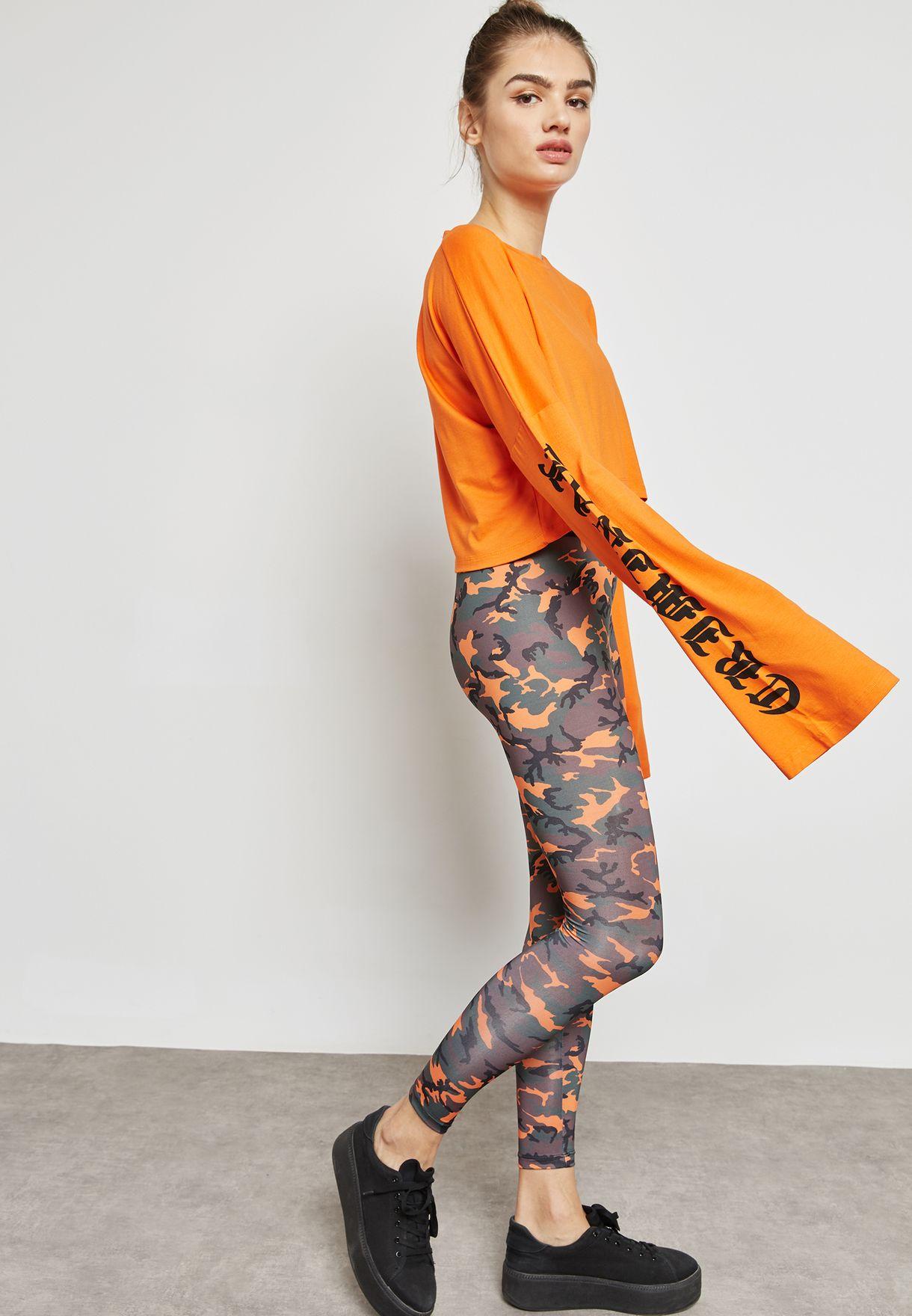 e2da26456bd Shop Criminal Damage orange Slogan Sleeve Crop T-Shirt BETHNAL L/S ...