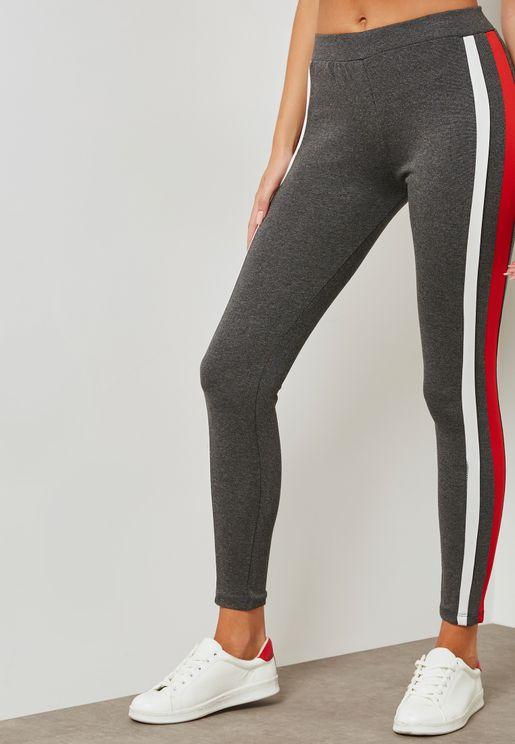 Contrast Side Paneled Leggings