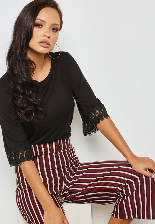 Lace Trim Sleeve Top