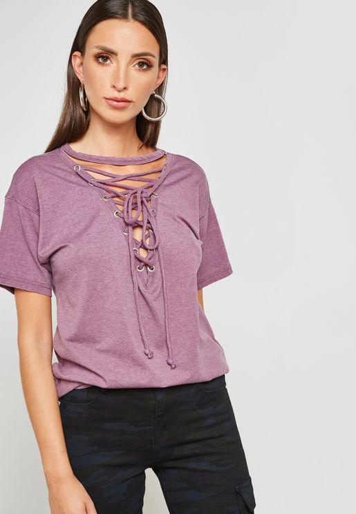 Lace Up Front T-Shirt