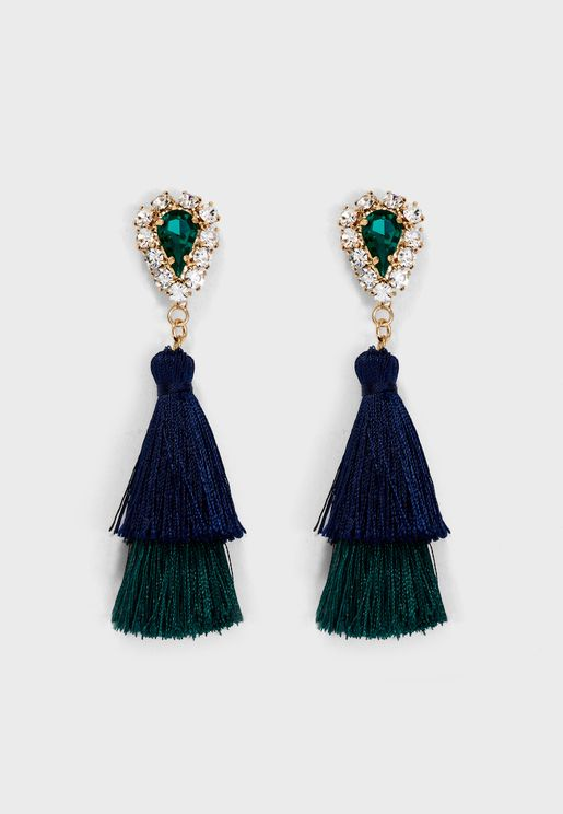 Statement Crystal & Tassel Drop Earrings