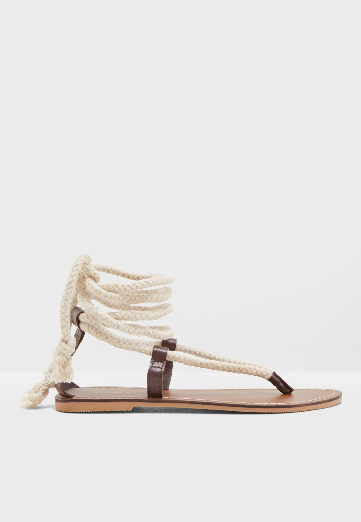 ca93c1a6292 Shop Topshop beige Rope Sandals 42H46NTAN for Women in UAE ...