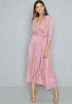 Plisse Self Tie Maxi Dress