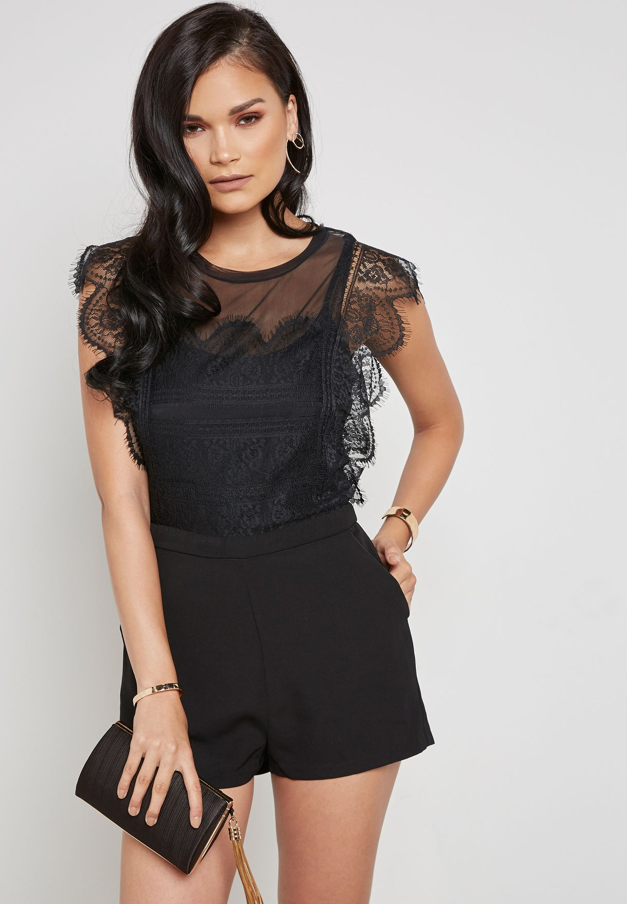 a9601f3c0dd Shop Only black Lace Scallop Detail Playsuit 15155980 for Women in ...