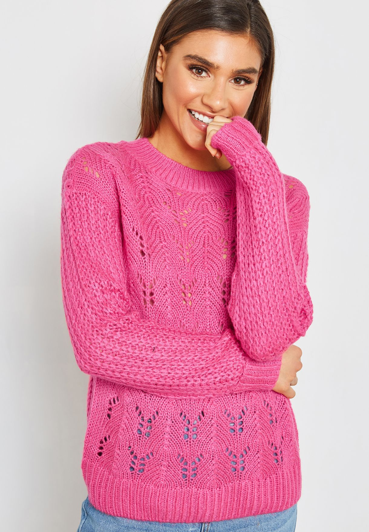 2746e6e4c50bfe Shop Noisy May pink Cable Knit Sweater 27002451 for Women in UAE ...