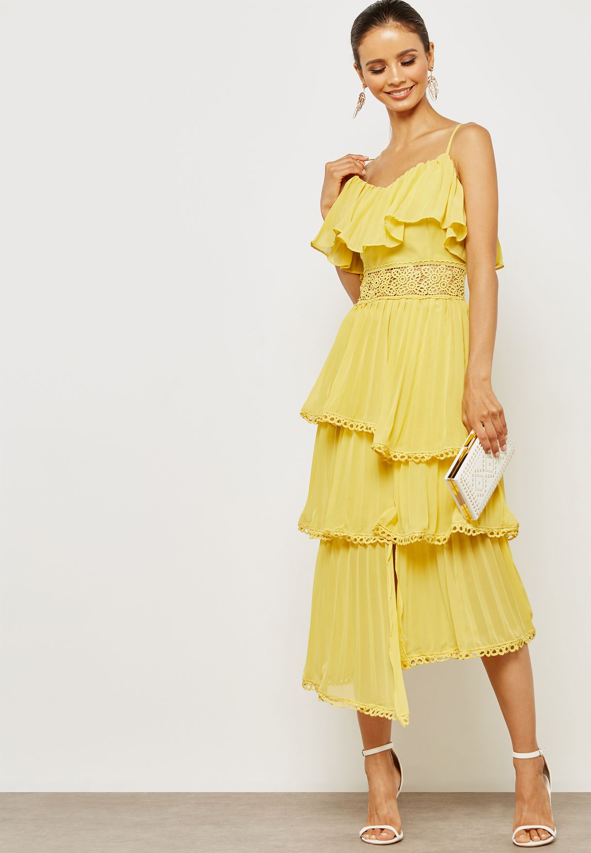 f6cb6f614d4 Shop True Decadence yellow Tiered Ruffle Dress HS0987 for Women in ...