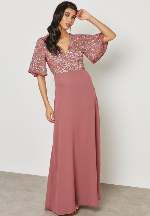 Embellished Top Bell Sleeves Dress