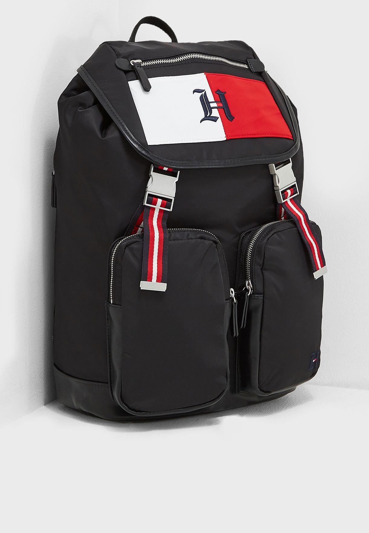 44e93056 Shop Tommy Hilfiger black Lewis Hamilton Backpack AM0AM04140002 for ...