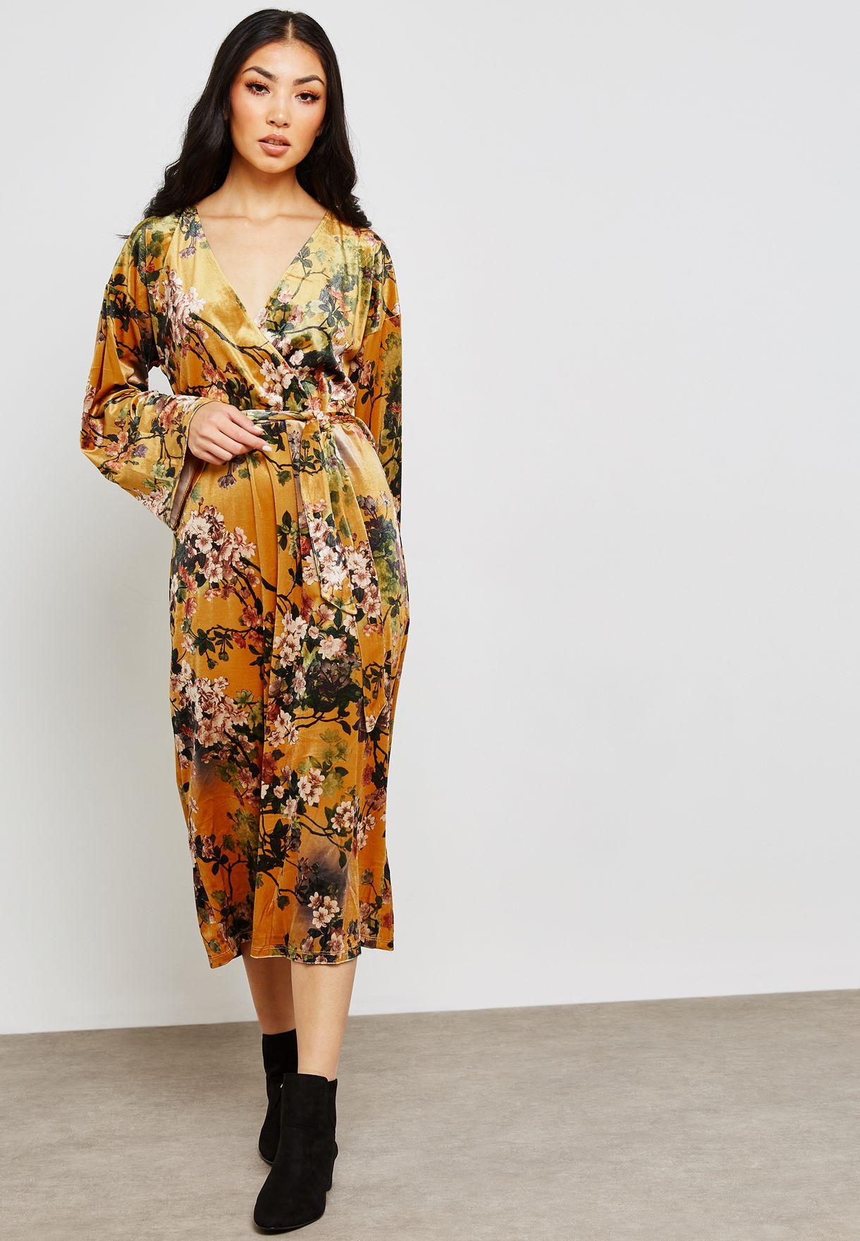 63c0e71fd81 Shop Vila prints Floral Tie Waist Printed Dress 14049053 for Women ...