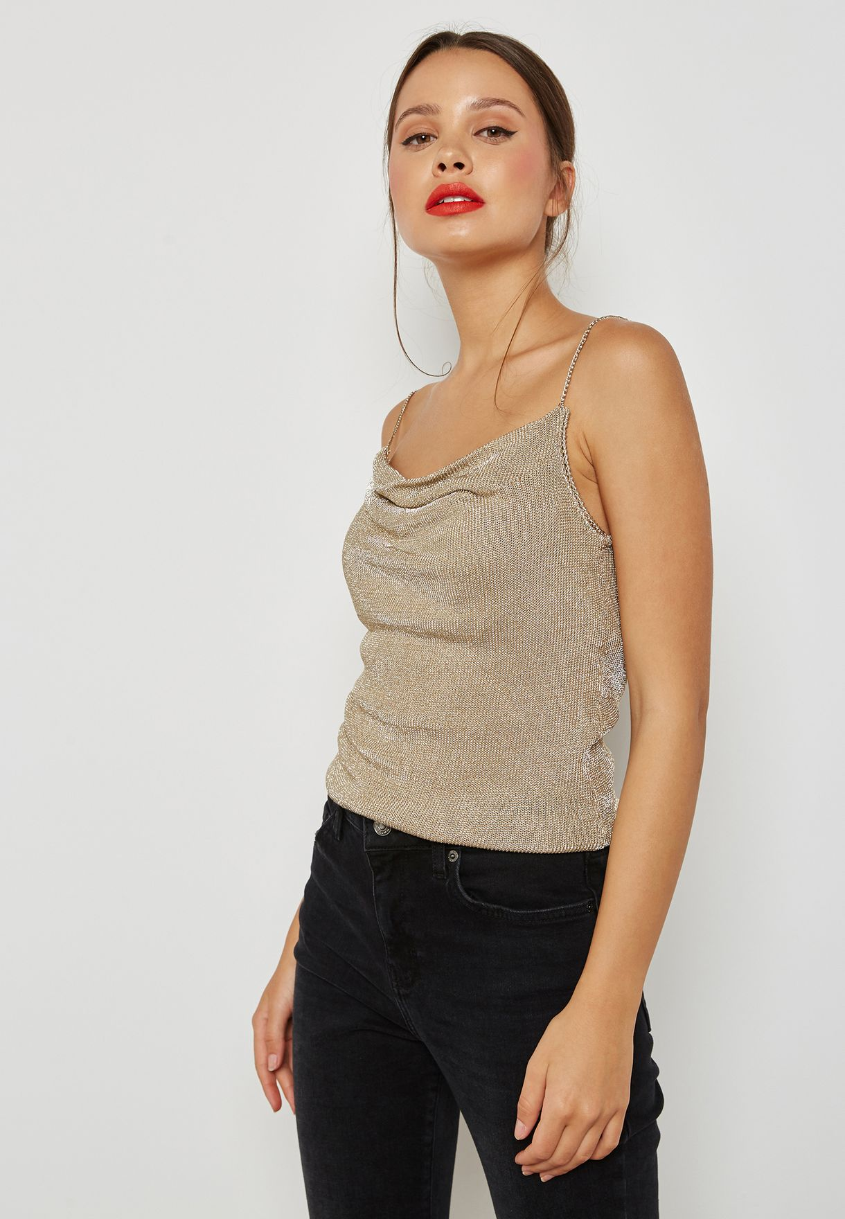 806c8c33e0f8b Shop Topshop gold Shimmer Cowl Neck Cami Top 23W01NGLD for Women in ...