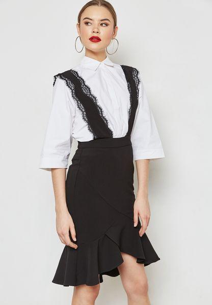 Lace Pinafore Ruffle Detail Dress