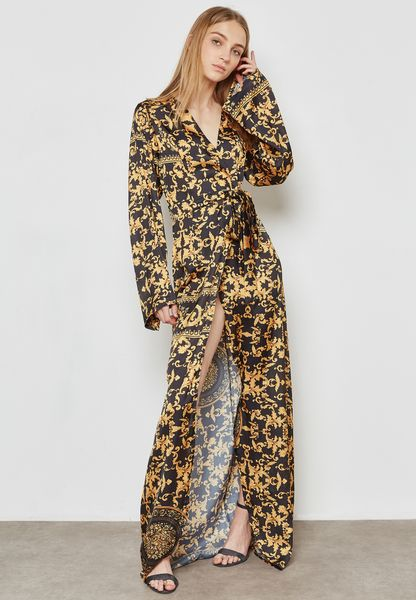 Baroque Print Wrap Front Tie Maxi Dress
