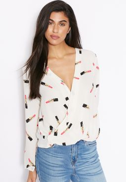 Ginger Lipstick Printed Wrap Front Top
