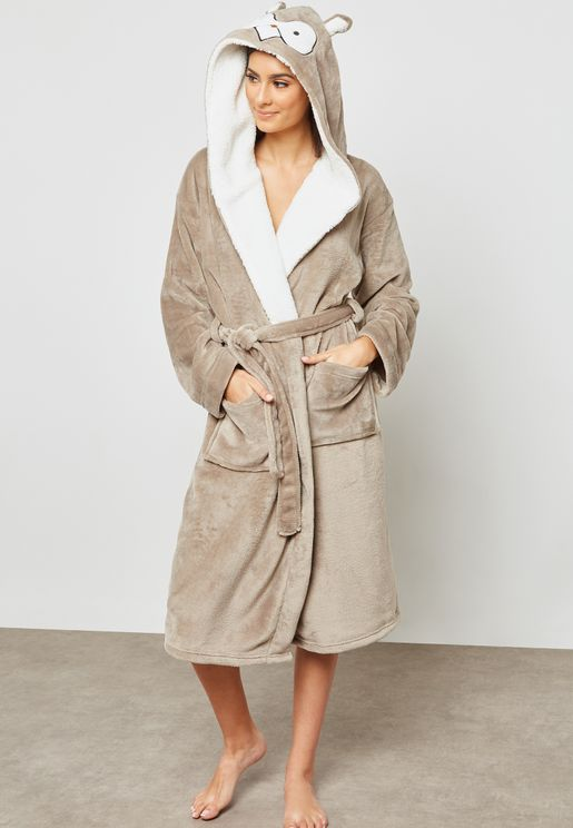 Owl Belted Robe