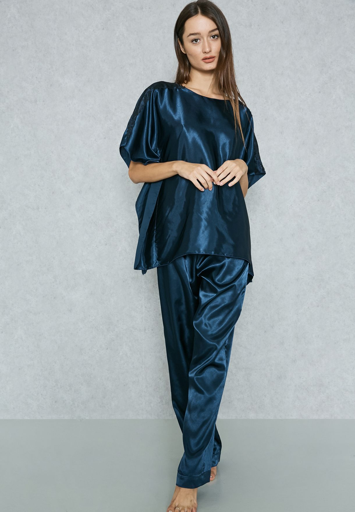 c08e24f112a Shop Brassi Belweiss navy Lace Sleeve Detail Satin Pyjama Set 2329 ...