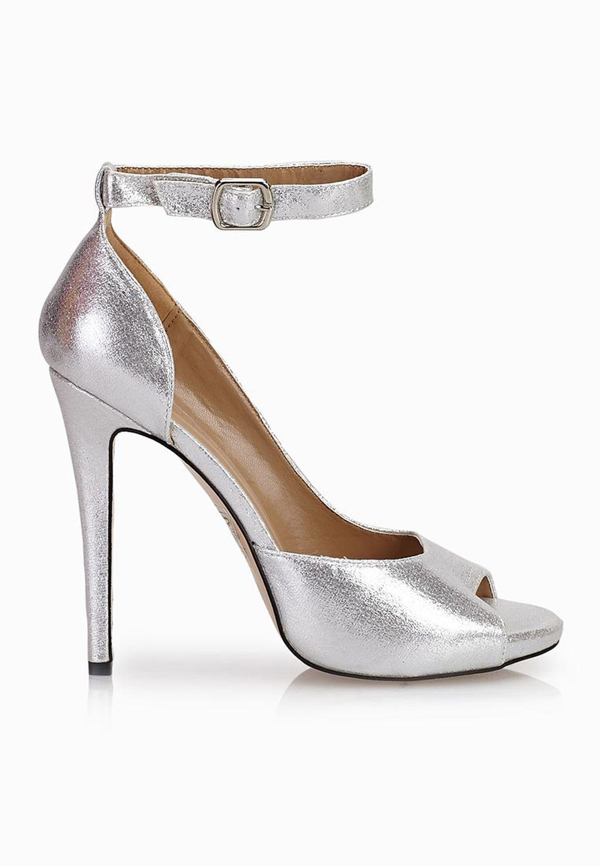 3b88463d31a Shop Truffle silver Ankle Strap Cut Out Peep Toe Sandals for Women ...