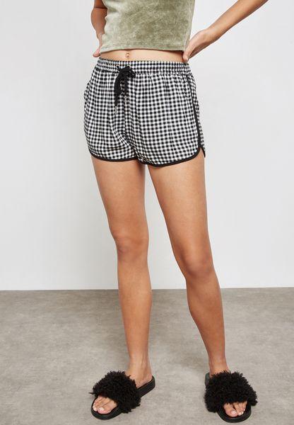 Tie Waist Gingham Shorts