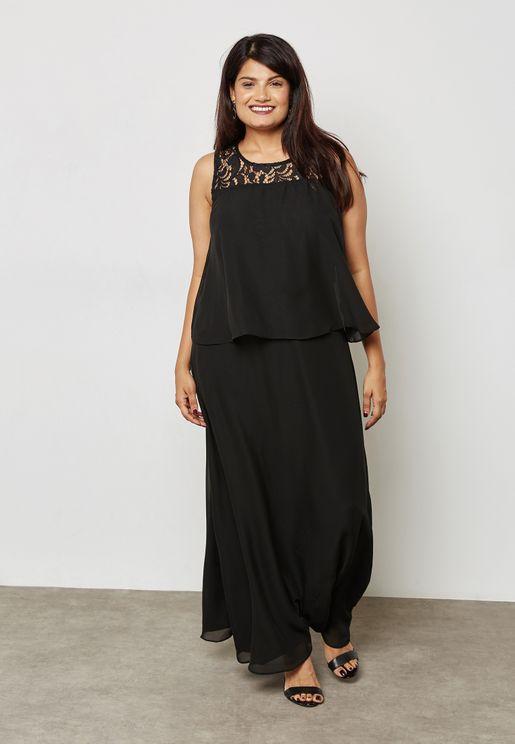 Lace Detail Layered Maxi Dress