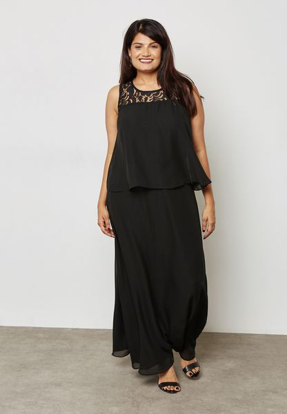 Lace Detail Layered Maxi Dress