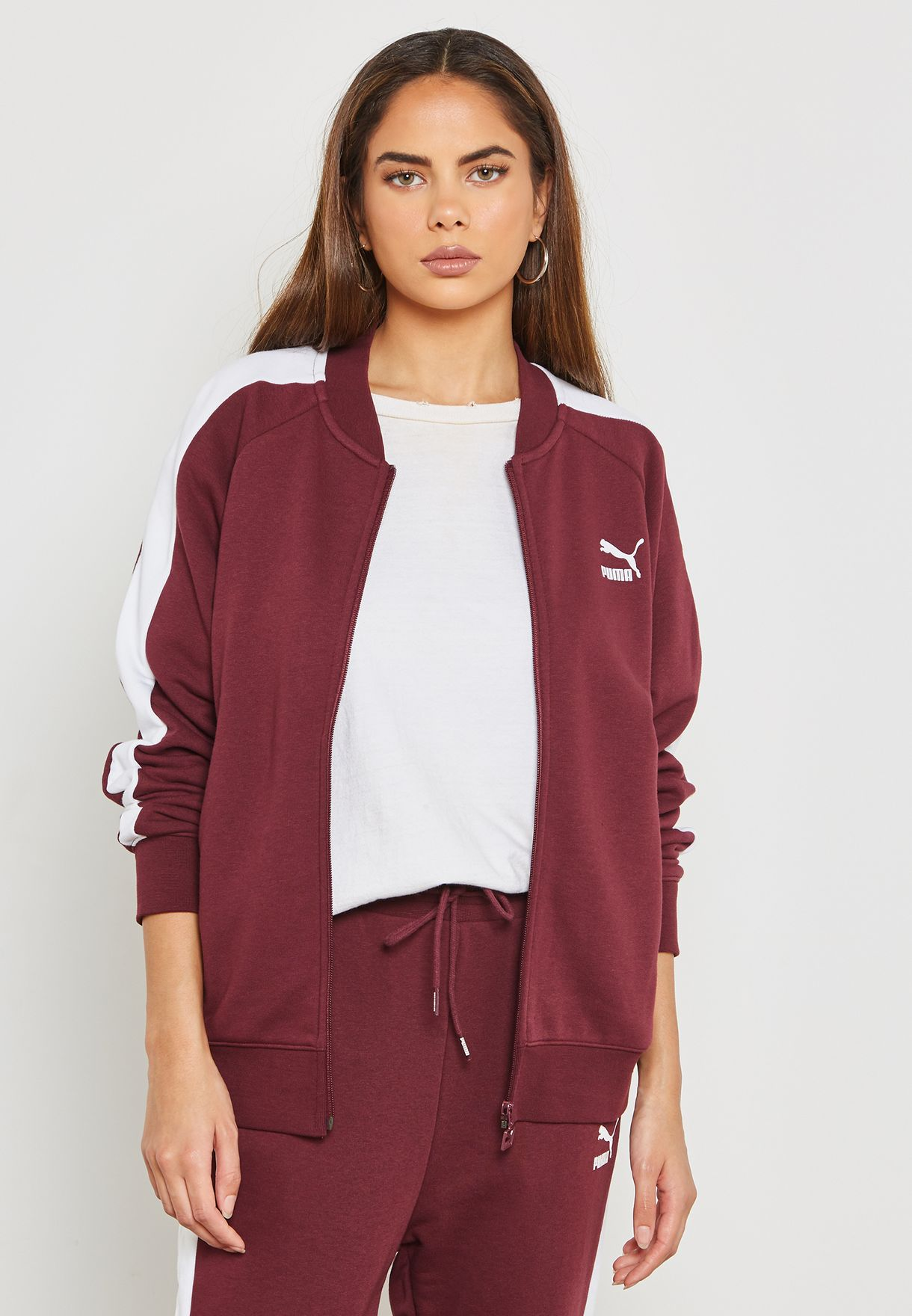 04181f15de98 Shop PUMA burgundy Classic T7 Track Jacket 57666122 for Women in UAE ...