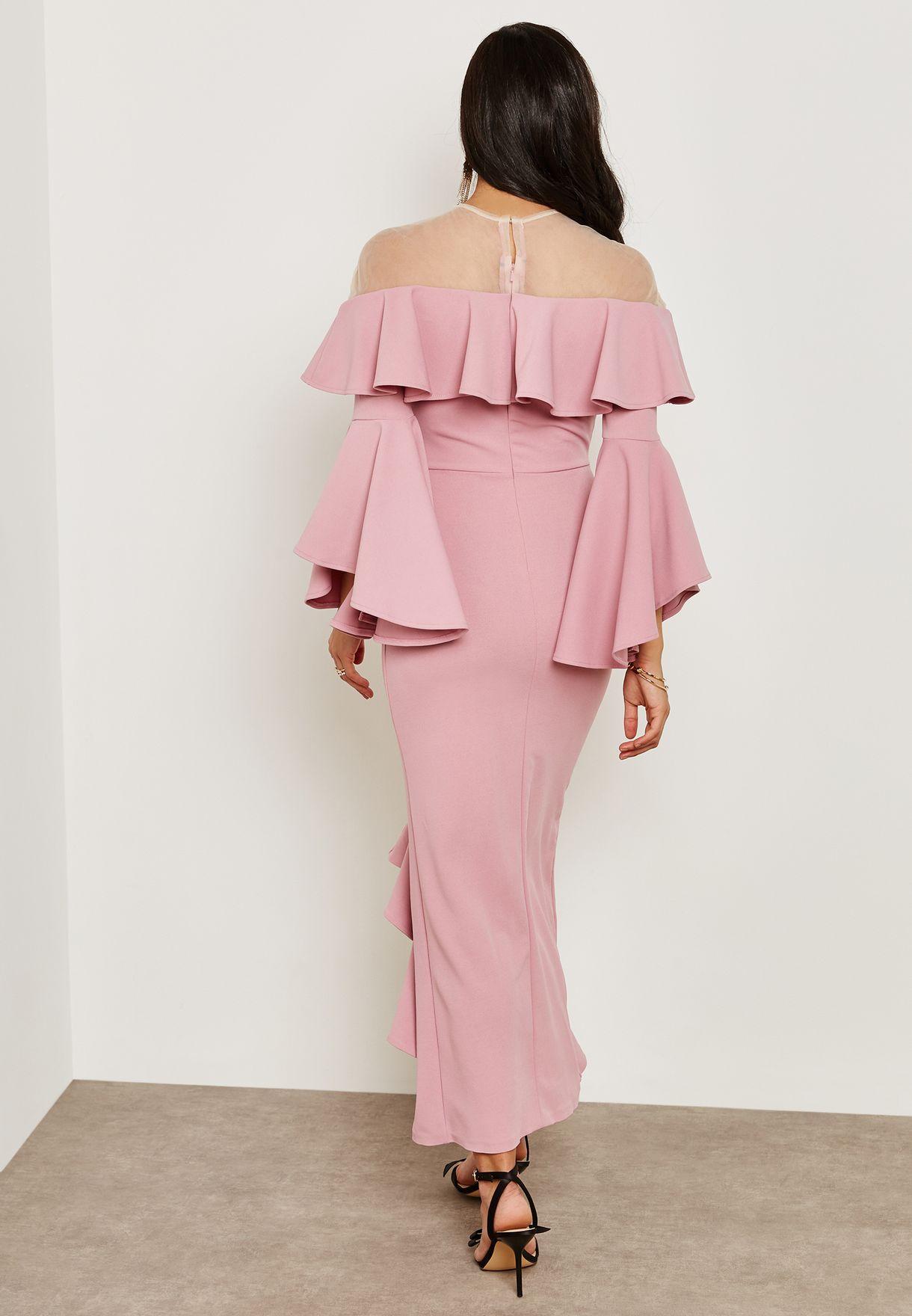 Mesh Top Frill Front Dress