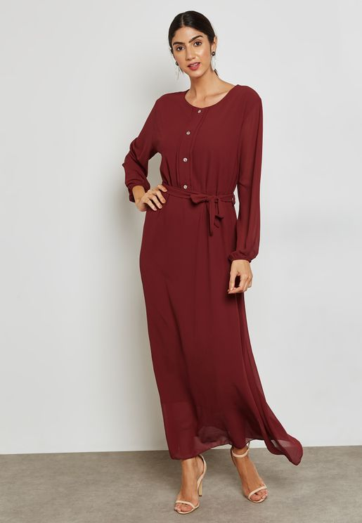 Button Front Self Tie Maxi Dress