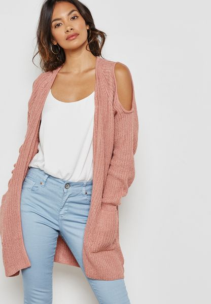 Ribbed Cold Shoulder Pocket Cardigan