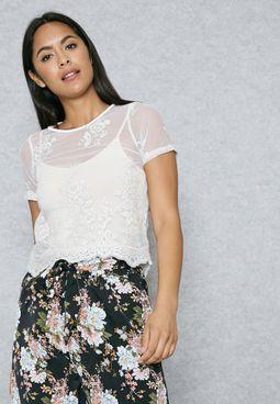 Lace Scallop Sheer T-Shirt