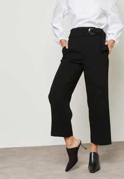 Buckle  Detail Crop Pants