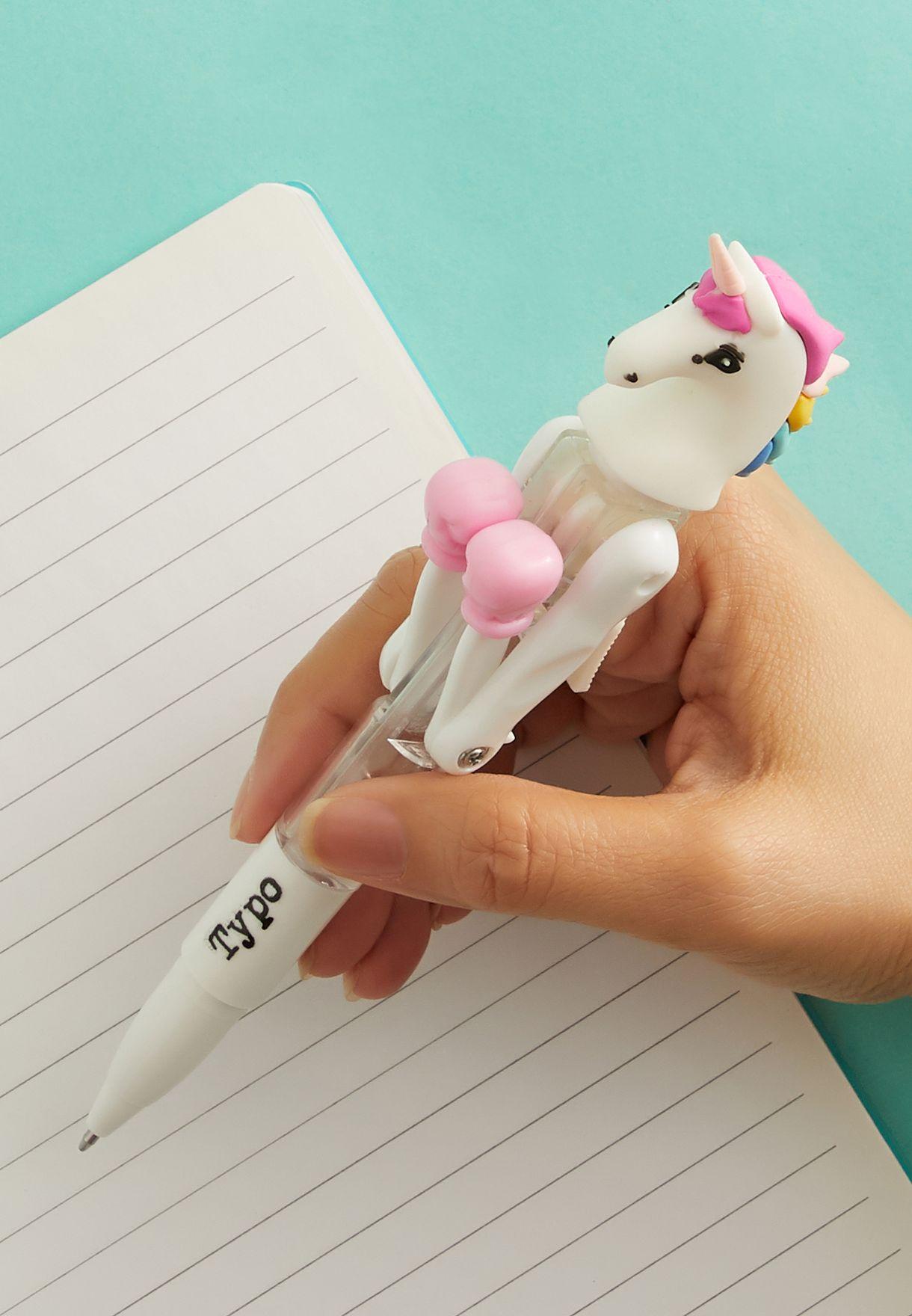 قلم مزين بشكل وحيد القرن