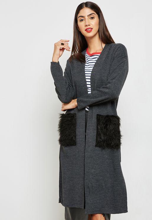 Faux Fur Pocket Longline Cardigan
