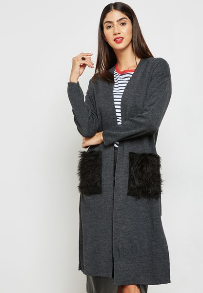 Faux Fur Pocket Longline Cardigan